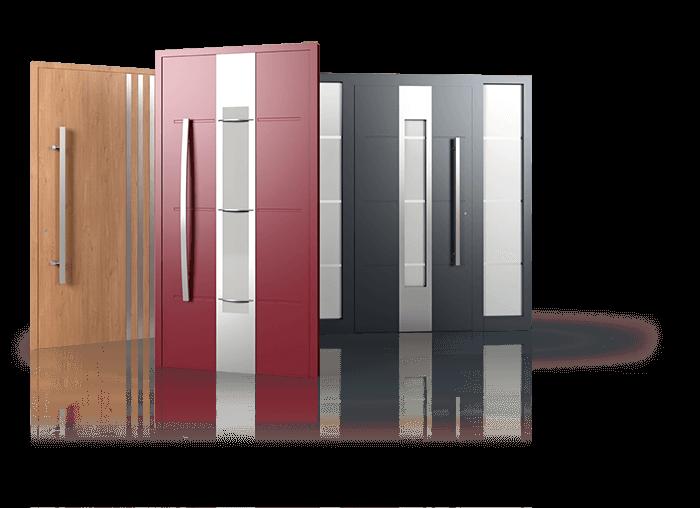 Haustüren in verschiedenen Farben und Modellen