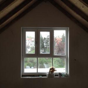 Haus von Innen mit Schüco CT70 PVC-Profil in weiß mit 2-fach Isolierverglasung